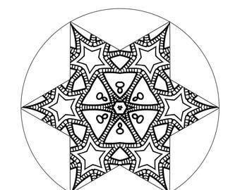 starburst mandala digital download adult coloring page instant art download mandala instant download printable mandala printable art