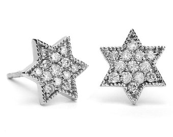 White Gold Star Of David Earrings, Silver Star Of David Earrings, Star Of David Stud Earrings, Bat Mitzvah Gift, Jewish Jewelry, Judaica