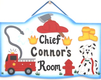 Personalized Fireman Room Sign-Chief Fire Truck