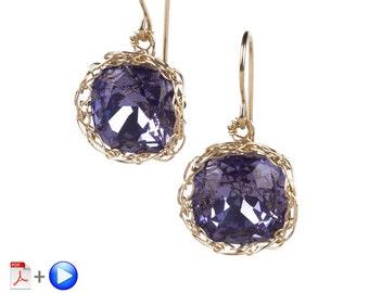 Jewelry Pattern Earrings , EVE vintage dangle earrings VIDEO tutorial , how to crochet wire cabochon , make dangle swarovski earrings
