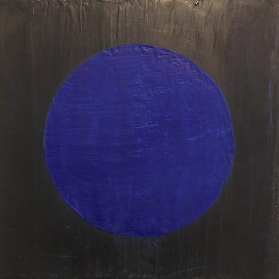"Blue Moon, 10"" square encaustic painting"