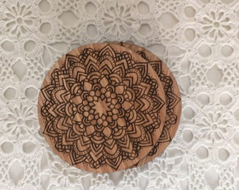 Mandala Engraved Coasters, Laser Etched Coasters, Timber Coasters