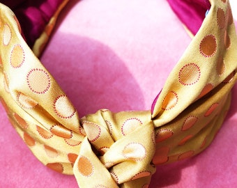 Headband Yellow Polka Dots