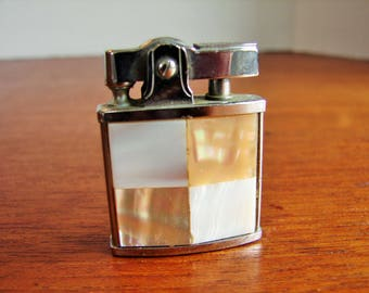 1960's Ladies Petite Auer Championette Chrome Lighter, Mother Of Pearl Casing,4 Square Panel Design,Made in Japan,Vintage Lighter,Tobacianna