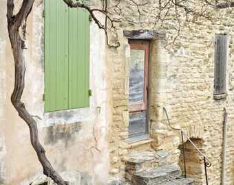 Provence France Photography, Europe Wall Art, French Decor, European Village, Door, Shutter, Travel photo, Fine Art Print, sage green, cream