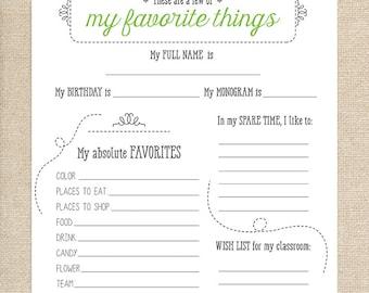 Printable Teacher Favorite Things Questionnaire