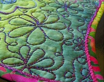SALE—GREEN MOUNTAIN Meadows Art Quilt Blue Green Pink