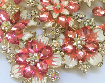 8 pcs Rhinestone Wedding Pin Brooch Pink Wholesales Gold-Toned Plated, DIY Wedding Brooch Bouquet Lot Gift Embellishment