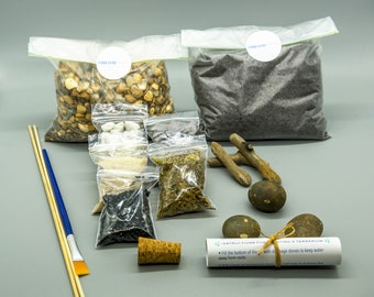 Terrarium kit, soil, charcoal, pebbles, sphagnum moss, slate, sand, driftwood & brush, optional gift box