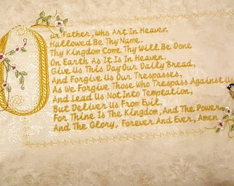 Lord's Prayer, Our Father Decorative Pillow in Gold