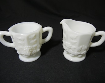 Westmoreland Paneled Grape Creamer and Sugar Set