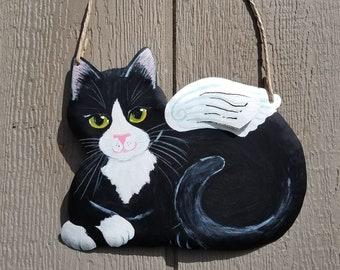 Tuxedo Cat Angel Art - Cat Yard Art - Cat Wall Art - Original Cat Art - Garden Art - Cat Sign - Cat Folk Art - Cat Memorial