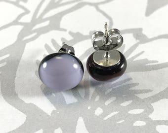 Glass Stud Earrings, Light Purple and Black Glass earrings, minimalist jewelry, small stud earrings, fused glass earrings, hypoallergenic,