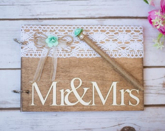 Wedding Guest Book Wooden Guest Book Mint Aqua Guestbook Country Wedding Decoration Guest Books Pen