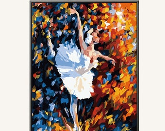 Ballet Dancer Paint by numbers/ colorful painting/ vintage painting/ framed wall art/ little girl/ ballet decor/ dance studio/ PBN Ballet