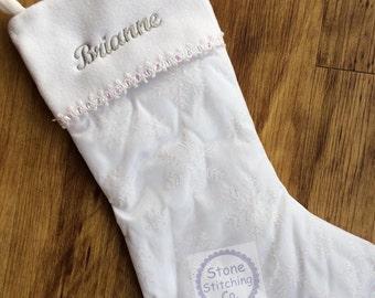 Personalized stocking, embroidered stocking, white stocking