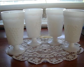 Vintage milkglass footed glassware wedding table decor retro chic white table decor 5pc set