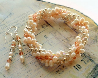 Pearl and Crystal Crocheted Bracelet with Earrings