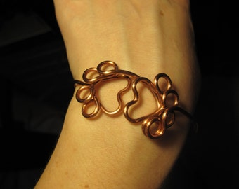 Wire Wrapped Paw Print Cuff MADE to ORDER
