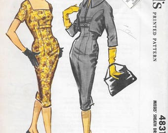 Vintage 1950s McCall's Sewing Pattern 4831- Misses' Sheath Dress and Jacket size 12 bust 32 uncut FF