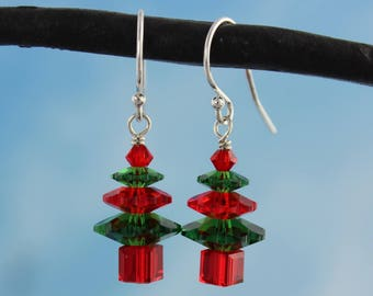 Fern Green and Cherry Red Crystal Christmas Tree Earrings - sterling silver hooks - made w/ Swarovski crystals - free shipping USA - Holiday