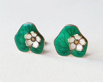 Willy Winnaess, Vintage sterling silver guilloche and enamel Water Lily earrings, David-AndersenNorway, 1950s (F1249)