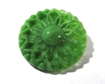 Czech Green Moonglow Glass 35mm FLOWER Button Czech Moonglow Button One (1) Green Flower Moonglow Jewelry Sewing Supply (J160)