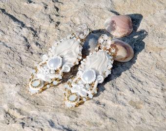 Soutache long statement earrings,bridesmaid earrings,bridal white earrings,opal swarovski rhinestone earrings,Pearl white  shibori earrings