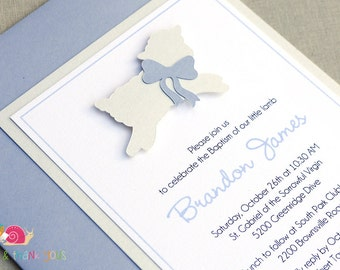 Lamb of God Invitations · A2 LAYERED · Bluebell and White Shimmer · Infant Christening | Baptism | Newborn Dedication | First Holy Communion