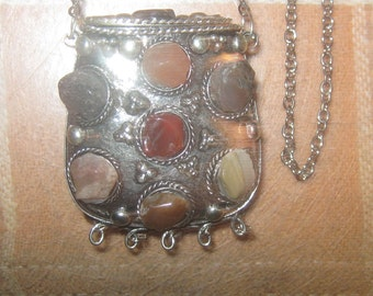 Vintage Antique India Gemstone POISON Locket  Purse Necklace