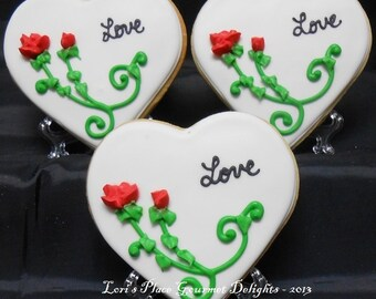 Heart Wedding Cookies - Wedding Cookie Favors - 1 Dozen