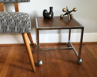 Industrial table Chrome and Wood Veneer Rolling Table Cart Side Table