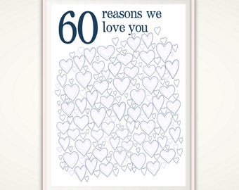 60th Birthday For Men - 60th Birthday Gift, 60th Birthday Party Decorations, Alternative Guest Book, 60th Anniversary Gift, 60 Years Loved