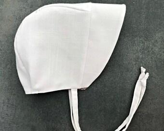 White Linen Baby Bonnet - Easter Bonnet - Toddler Bonnet - Baby Sun Hat - Bird Baby Gift - Baby Shower Gift