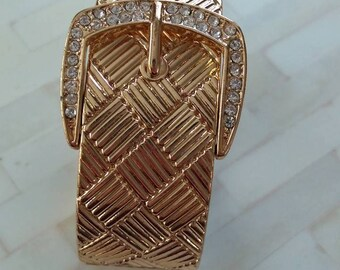 Bracelet / Gold Buckle Cuff W/ Rhinestones - Opens To Fit