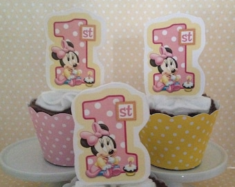 Minnie Mouse 1st Birthday Party Cupcake Topper Decorations - Set of 10