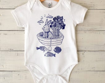 Baby Onesie, Organic Cotton Bodysuit, Hand Printed Baby Romper, Rabbit in Boat Design, Blue Print on White