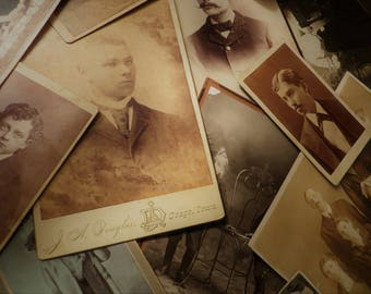 Vintage Antique cabinet card and photo mystery lot of 6