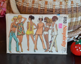 """Simplicity 8153 - 60's Misses' Top, Hip-Hugger Pants Two-Piece Bathing Suit Sewing Pattern Size 10, Bust 32-1/2"""",   1969, 19 Pieces"""