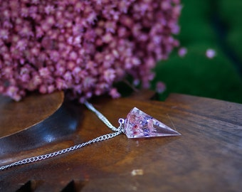Flowers pendulum resin necklace crystal jewelry  Pink spring flowers Crystal Resin Pendant,Real Flower Jewelry,Crystal point pendant