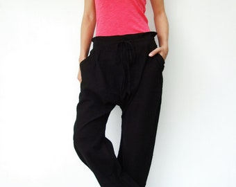 NO.68 Black Cotton Drop Crotch Pants, Slant Pockets Trendy Trousers