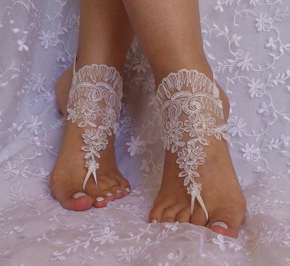 bridal anklet, ivory lace anklet, Beach wedding barefoot sandals, bangle, wedding anklet, anklet, bridal, wedding