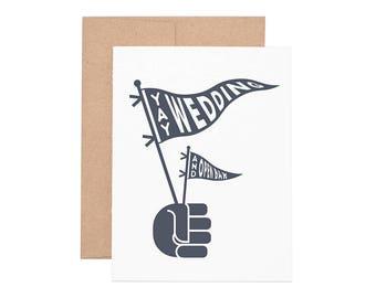 Yay Wedding Letterpress Greeting Card - Wedding Card | Congratulations | Congrats | Greeting Cards | Letterpress Cards