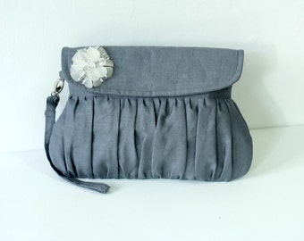 Charcoal Grey Linen Clutch with white beaded flower