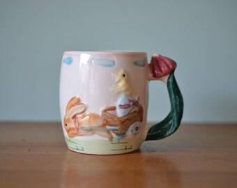 Vintage tea cup mug bunny chicken ceramic Japan AGT2 kitsch