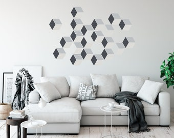 Modern Geometric Wall Decals, Optical Illusion Squares in Gray Tones, Eco-friendly Fabric Decals, Repositionable, Removable
