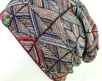 Kaleidoscope slouch beanie- burgundy liner