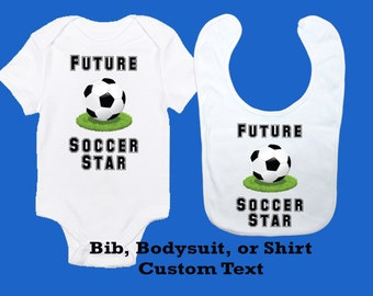 Soccer Baby Bodysuit, Bib, Toddler Shirt, Personalized Sports Design, Future Soccer Star, Custom Baby Boy Clothes, Unique Baby Outfit Gift