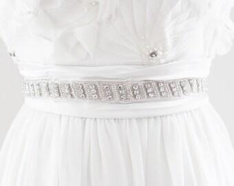 MARISSA - Rhinestone Beaded Bridal Sash, Wedding Belt
