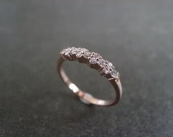 Diamond Wedding Ring in 14K Rose Gold, Diamond Wedding Band, Diamond Ring, Diamond Band, Unique Diamond Wedding Band, Rose Gold Ring